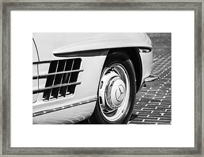 1957 Mercedes-benz 300 Sl Roadster Wheel Emblem -0121bw Framed Print