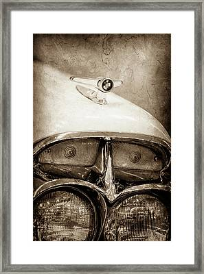Framed Print featuring the photograph 1957 Mercury Turnpike Cruiser Emblem -0749s by Jill Reger