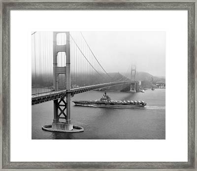 1957 Uss Hancock In San Francisco Framed Print
