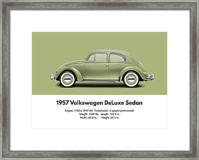1957 Volkswagen Deluxe Sedan - Diamond Green Framed Print
