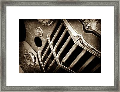 1957 Willys Jeep 6-226 Wagon Grille Emblem -1046s Framed Print by Jill Reger