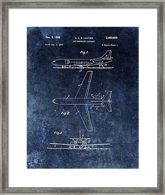 1958 Airplane Patent Blue Framed Print by Dan Sproul