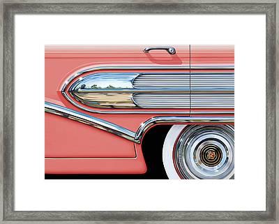 1958 Buick Side Chrome Bullet Framed Print by David Kyte