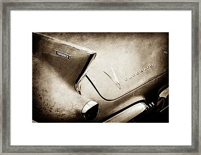 Framed Print featuring the photograph 1958 Cadillac Eldorado Biarritz Taillight Emblems -0255s by Jill Reger