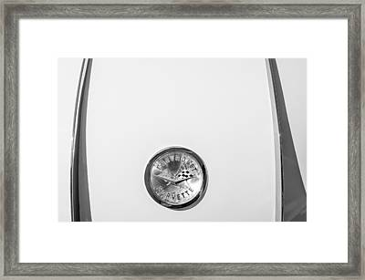 1958 Chevrolet Corvette Emblem -0132bw Framed Print