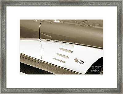 1958 Corvette By Chevrolet Side Panel And A Sepia Photograph 348 Framed Print by M K  Miller