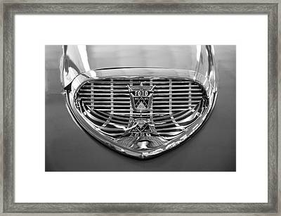 Framed Print featuring the digital art 1958 Ford Fairlane Sunliner Intake Bw by Chris Flees