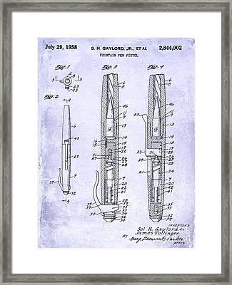 1958 Fountain Pen Pistol Patent Blueprint Framed Print