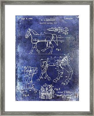 1958 Horse Toy Patent Blue Framed Print by Jon Neidert
