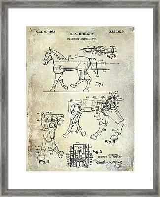 1958 Horse Toy Patent Framed Print by Jon Neidert