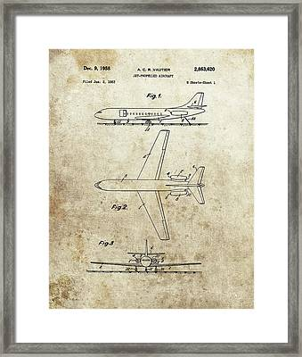 1958 Jet Airplane Patent Framed Print by Dan Sproul