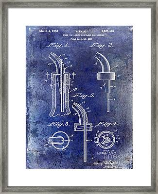 1958 Liquor Bottle Pour Patent Blue Framed Print by Jon Neidert