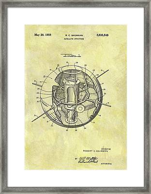 1958 Satellite Patent Framed Print by Dan Sproul