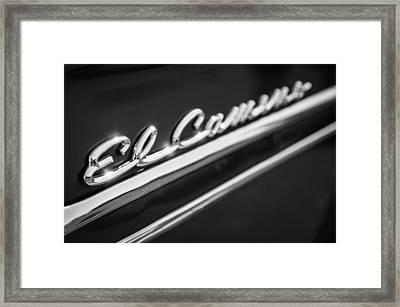 1959 Chevrolet El Camino Emblem -0008bw Framed Print by Jill Reger
