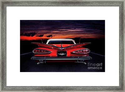 1959 Chevrolet Impala Convertible On Road In Sunset Framed Print