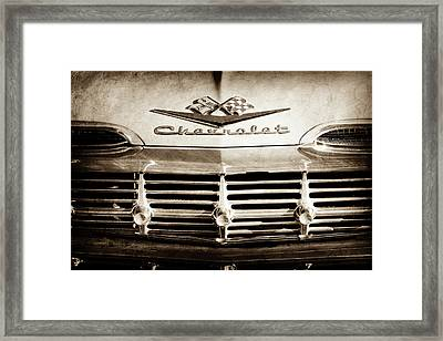 Framed Print featuring the photograph 1959 Chevrolet Impala Grille Emblem -1014s by Jill Reger