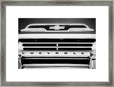 1959 Chevrolet Napco Fleetside Grille Emblem -1634bw Framed Print by Jill Reger