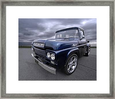 1959 Ford F100 Dark Blue Pickup Framed Print by Gill Billington