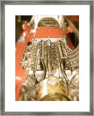 1959 Tecnia Meccanica Maserati 250f Engine Detail Framed Print by John Colley