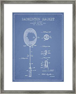 1960 Badminton Racket Patent Spbm01_lb Framed Print