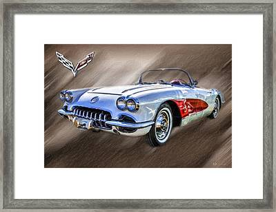 1960 Corvette Convertible - C1 With 3d Badge  Framed Print