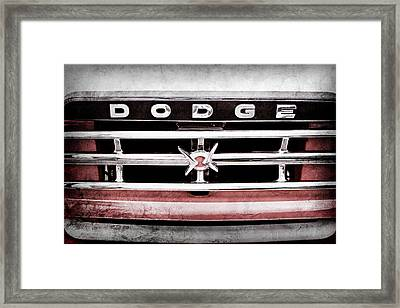 Framed Print featuring the photograph 1960 Dodge Truck Grille Emblem -0275ac by Jill Reger