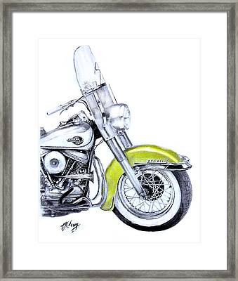 1960 Harley Davidson Flh Duo-glide Motorcycle Framed Print by Terence John Cleary