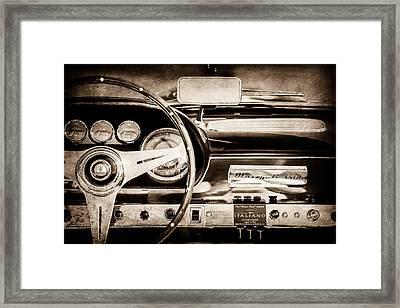 1960 Maserati 3500 Gt Spyder Steering Wheel Emblem -0407s Framed Print