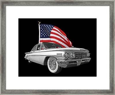 1960 Oldsmobile With Us Flag Framed Print