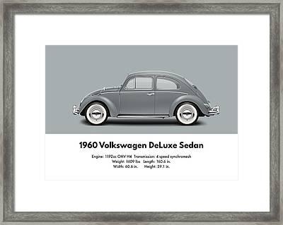 1960 Volkswagen Deluxe Sedan - Anthracite Framed Print