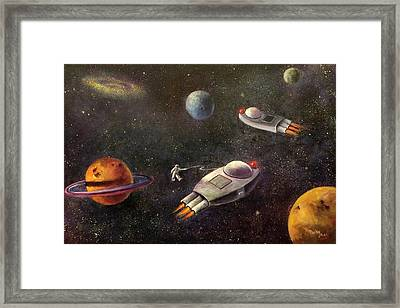 1960s Outer Space Adventure Framed Print by Randy Burns