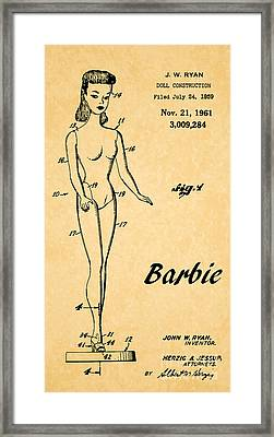 1961 Barbie Doll Patent Art 5 Framed Print by Nishanth Gopinathan