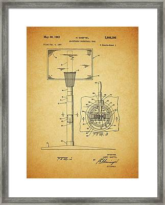 1961 Basketball Hoop Patent Framed Print