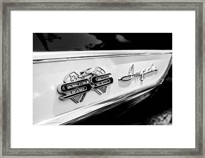 1961 Chevrolet Bel Air Impala Ss Bubble Top Side Emblem -0242bw Framed Print by Jill Reger