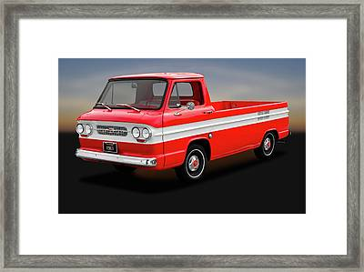 Framed Print featuring the photograph 1961 Chevrolet Corvair 95 Rampside Truck  -  1961corvairrampside172180 by Frank J Benz