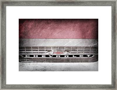 Framed Print featuring the photograph 1961 Chevrolet Corvair Pickup Truck Grille Emblem -0130ac by Jill Reger