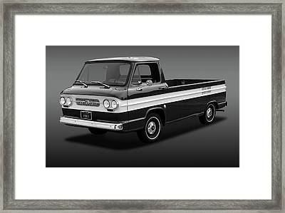 Framed Print featuring the photograph 1961 Chevrolet Corvair Rampside  -  61corvairrampsidebw172180 by Frank J Benz