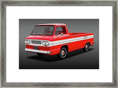 Framed Print featuring the photograph 1961 Chevrolet Corvair Rampside Truck  -  1961chevcorvairrampsidefa172180 by Frank J Benz
