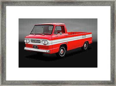 Framed Print featuring the photograph 1961 Chevrolet Corvair Rampside Truck  -  1961chevycorvairgry172180 by Frank J Benz