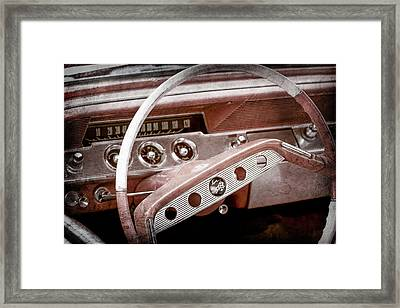Framed Print featuring the photograph 1961 Chevrolet Impala Ss Steering Wheel Emblem -1156ac by Jill Reger