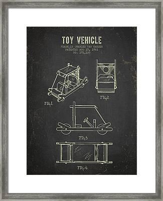 1961 Toy Vehicle Patent - Dark Grunge Framed Print by Aged Pixel
