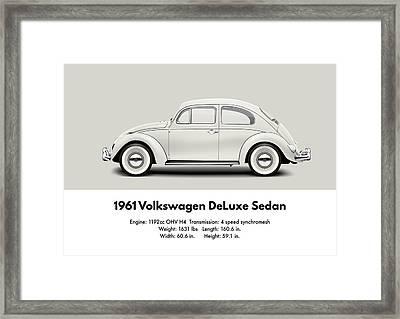 1961 Volkswagen Deluxe Sedan - Pearl White Framed Print