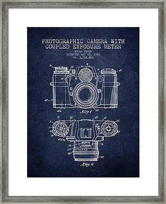 1962 Camera Patent - Navy Blue - Nb Framed Print by Aged Pixel