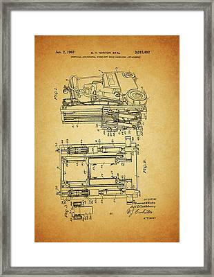 1962 Forklift Patent Framed Print by Dan Sproul