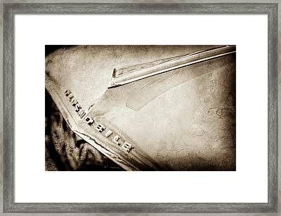 Framed Print featuring the photograph 1962 Oldsmobile Hood Ornament And Emblem -0598s by Jill Reger