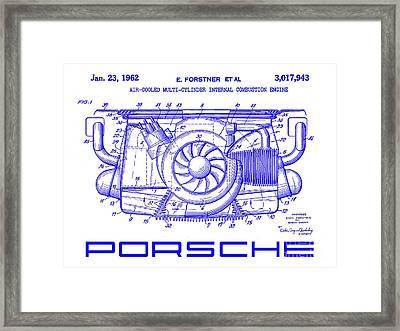 1962 Porsche Engine Patent Blueprint Framed Print
