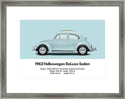 1962 Volkswagen Deluxe Sedan - Pacific Blue Framed Print