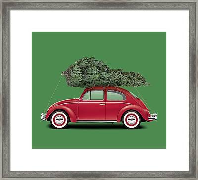 1962 Volkswagen Deluxe Sedan - Ruby Red W/ Christmas Tree Framed Print