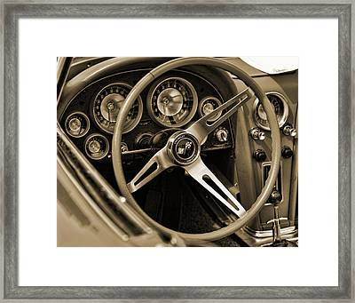 1963 Chevrolet Corvette Steering Wheel - Sepia Framed Print