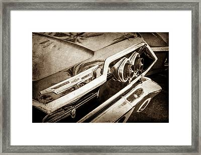 Framed Print featuring the photograph 1963 Chevrolet Taillight Emblem -0183s by Jill Reger